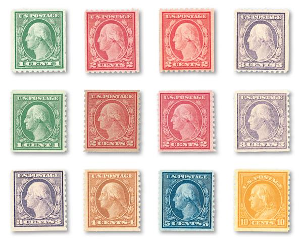 1916-22 Rotary Press, collection of 12 coil stamps