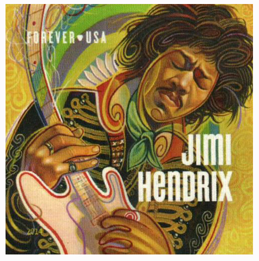 2014 First-Class Forever Stamp - Imperforate Music Icons Series: Jimi Hendrix