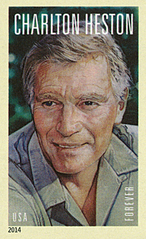2014 First-Class Forever Stamp - Imperforate Legends of Hollywood: Charlton Heston
