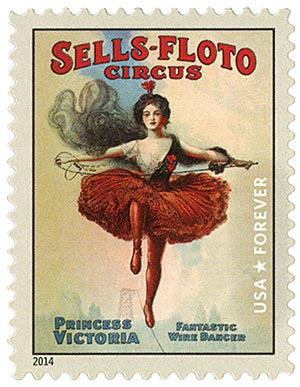 2014 First-Class Forever Stamp - Vintage Circus Posters: Sells-Floto Circus, Princess Victoria