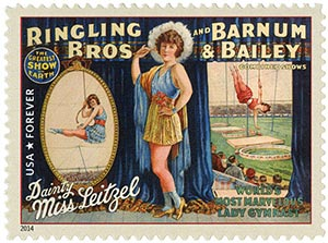 2014 First-Class Forever Stamp - Vintage Circus Posters: Ringling Bros and Barnum & Bailey, Dainty Miss Leitzel