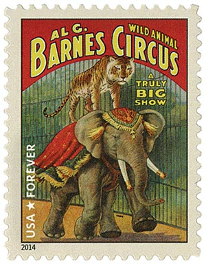 2014 First-Class Forever Stamp - Vintage Circus Posters: Barnes Wild Animal Circus, Tiger and Elephant