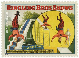 2014 First-Class Forever Stamp - Vintage Circus Posters: Ringling Bros Shows, Hillary Long