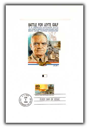 Item #4902610 – Leyte Gulf proof card picturing Admiral William Halsey, who commanded the Third Fleet there.