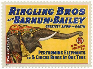 2014 First-Class Forever Stamp - Vintage Circus Posters: Ringling Bros and Barnum & Bailey, Performing Elephants