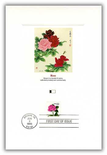 1995 32c Rose Proofcard