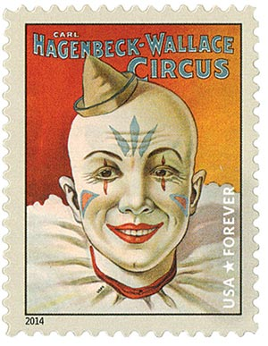 2014 First-Class Forever Stamp - Vintage Circus Posters: Hagenbeck-Wallace Circus, Clown