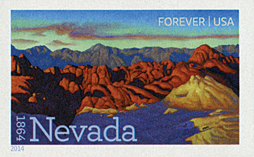 2014 First-Class Forever Stamp - Imperforate Statehood: Nevada Sesquicentennial