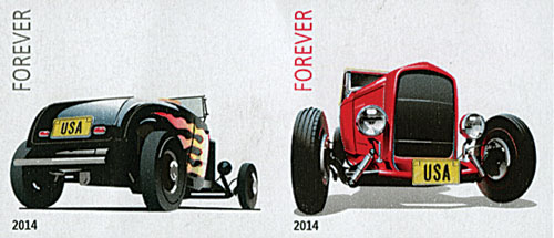 2014 First-Class Forever Stamp - Imperforate Hot Rods