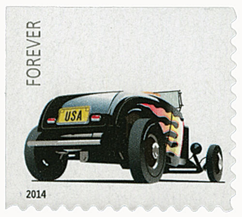 "2014 First-Class Forever Stamp - Hot Rods: Rear of 1932 Ford ""Deuce"" Roadster"