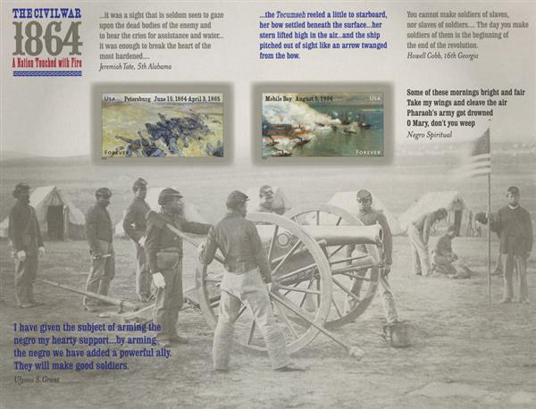 2014 49c Civil War Sesquicentennial: 1864 - Petersburg & Mobile Bay (Front of Sheet only)