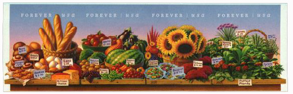 2014 First-Class Forever Stamp - Imperforate Farmers Market