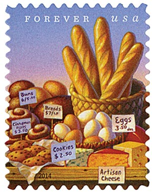 2014 First-Class Forever Stamp - Farmers Markets: Breads