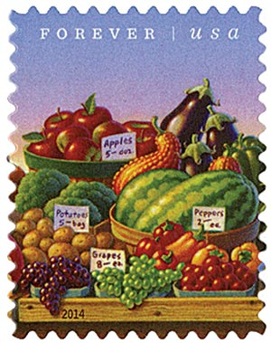 2014 First-Class Forever Stamp - Farmers Markets: Fruits and Vegetables