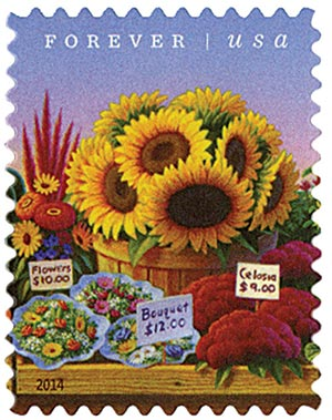 2014 First-Class Forever Stamp - Farmers Markets: Flowers