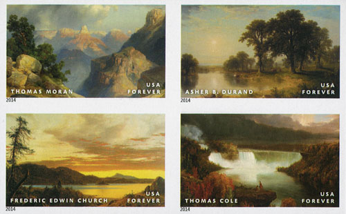 2014 First-Class Forever Stamp - Imperforate American Treasures: Hudson River School Paintings