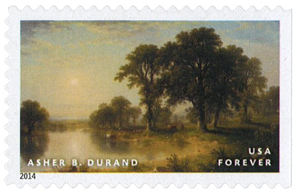 """2014 First-Class Forever Stamp - Hudson River School Paintings: """"Summer Afternoon"""" by Asher B. Durand"""