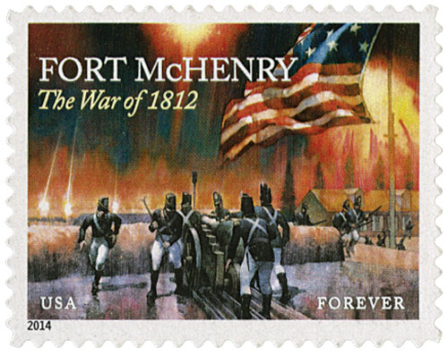 2014 First-Class Forever Stamp - The War of 1812: Fort McHenry