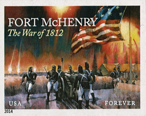 2014 First-Class Forever Stamp - Imperforate The War of 1812: Fort McHenry