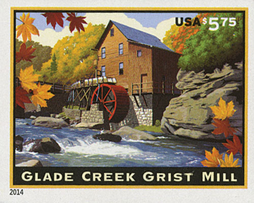 2014 $5.75 Imperf Glade Creek Grist Mill