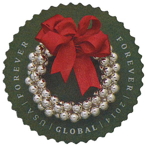 2014 Global Forever Stamp - Silver Bells Wreath
