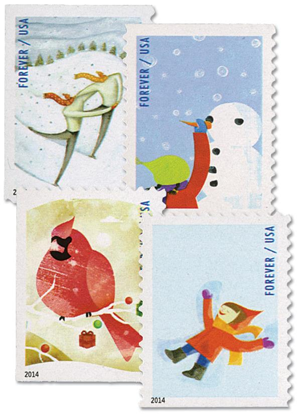 2014 First-Class Forever Stamp - Winter Fun (CCL Label, booklet)