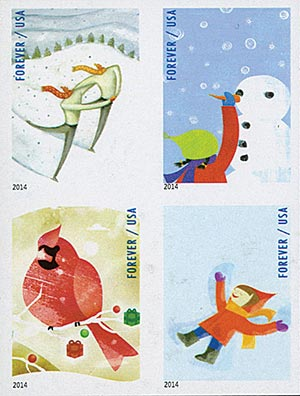 2014 First-Class Forever Stamp - Imperforate Winter Fun (CCL Label, booklet)
