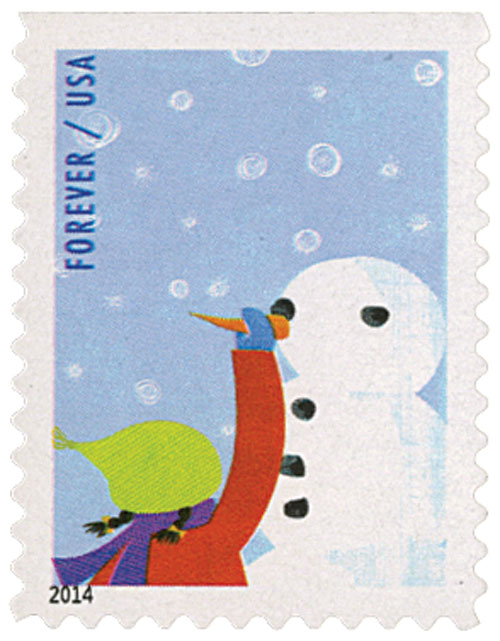 2014 First-Class Forever Stamp - Winter Fun: Child Making a Snowman (CCL Label, booklet)