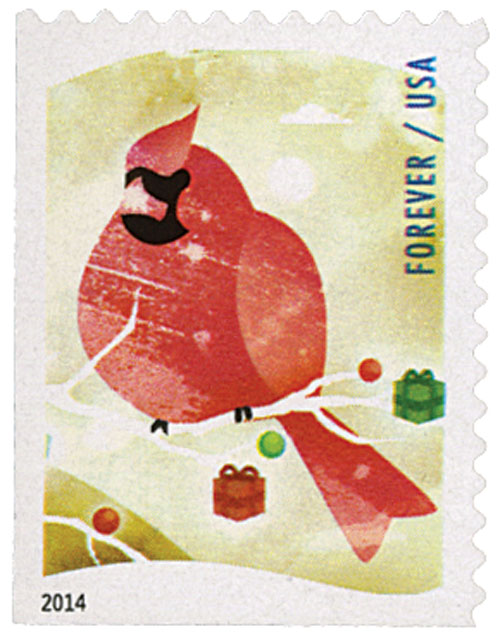 2014 First-Class Forever Stamp - Winter Fun: Cardinal (CCL Label, booklet)