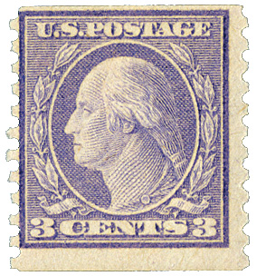1918 3c Washington, violet, vertical perf 10, type II