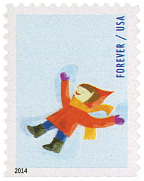 2014 First-Class Forever Stamp - Winter Fun: Child Making a Snow Angel (CCL Label, booklet)