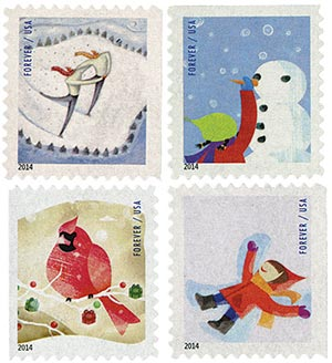 2014 First-Class Forever Stamp - Winter Fun (Ashton Potter, ATM booklet)