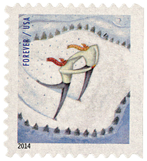 2014 First-Class Forever Stamp - Winter Fun: Ice Skaters (Ashton Potter, ATM booklet)