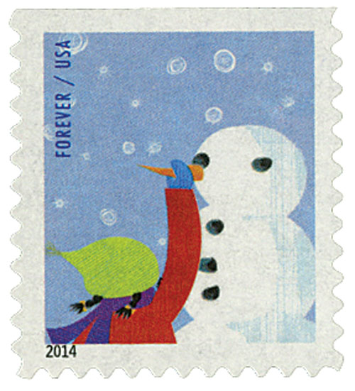 2014 First-Class Forever Stamp - Winter Fun: Child Making a Snowman (Ashton Potter, ATM booklet)