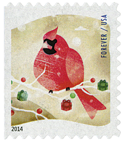 2014 First-Class Forever Stamp - Winter Fun: Cardinal (Ashton Potter, ATM booklet)