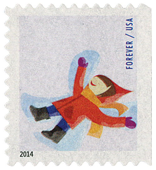 2014 First-Class Forever Stamp - Winter Fun: Child Making a Snow Angel (Ashton Potter, ATM booklet)