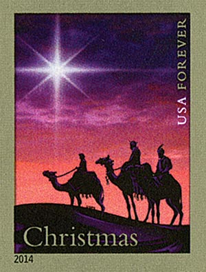 2014 First-Class Forever Stamp - Imperforate Christmas Magi