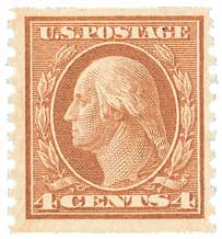 1917 4c Washington, orange brown, vertical perf 10
