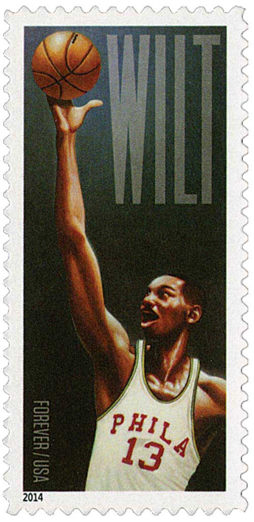 2014 First-Class Forever Stamp - Wilt Chamberlain: Philadelphia Warriors