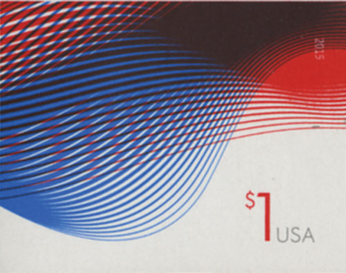 2015 $1.00 Imperf Patriotic Wave