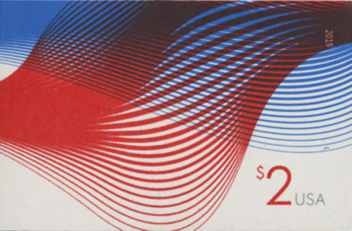 2015 $2.00 Imperf Patriotic Wave