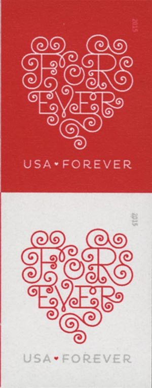 2015 First-Class Forever Stamp - Imperforate Love Series: Forever Hearts