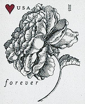 2015 First-Class Forever Stamp - Imperforate Wedding Series: Engraved Vintage Rose