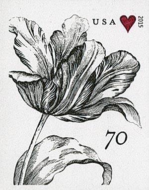 2015 70c Imperf Engraved Vintage Tulip