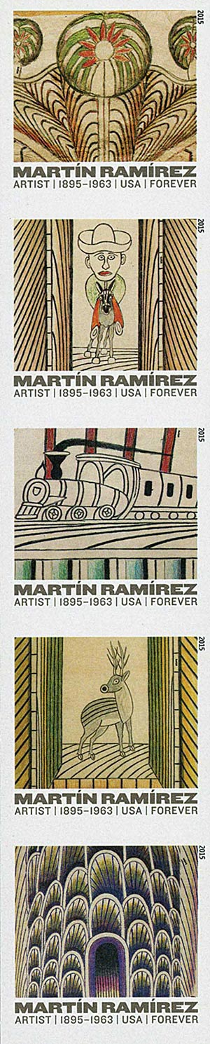 2015 First-Class Forever Stamp - Imperforate Martin Ramirez (1895-1963)