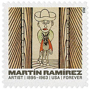 "2015 First-Class Forever Stamp - Martin Ramirez: ""Man Riding Donkey"""