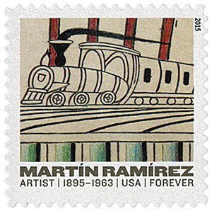 "2015 First-Class Forever Stamp - Martin Ramirez: ""Trains on Inclined Tracks"""