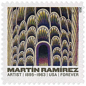 "2015 First-Class Forever Stamp - Martin Ramirez: ""Tunnel with Cars and Buses"""