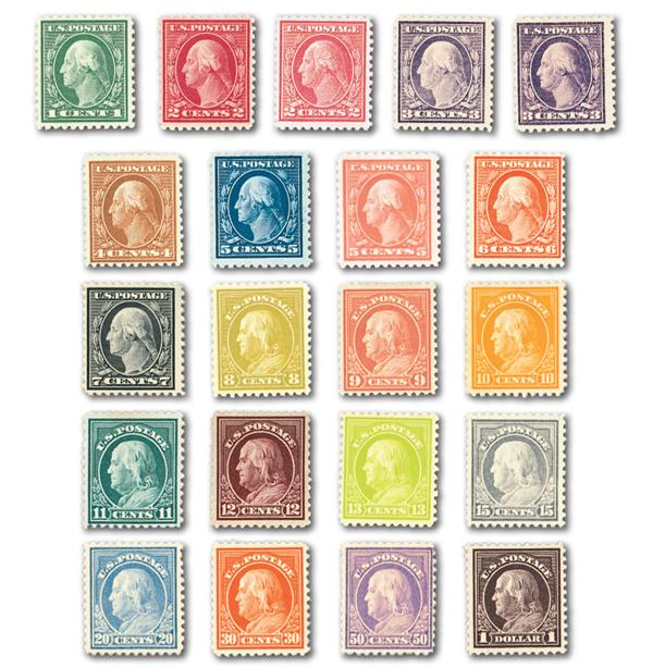 Complete Set, 1917-19 Washington Franklin Issue Perforated 11