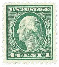 1917 1c Washington green, perf 11